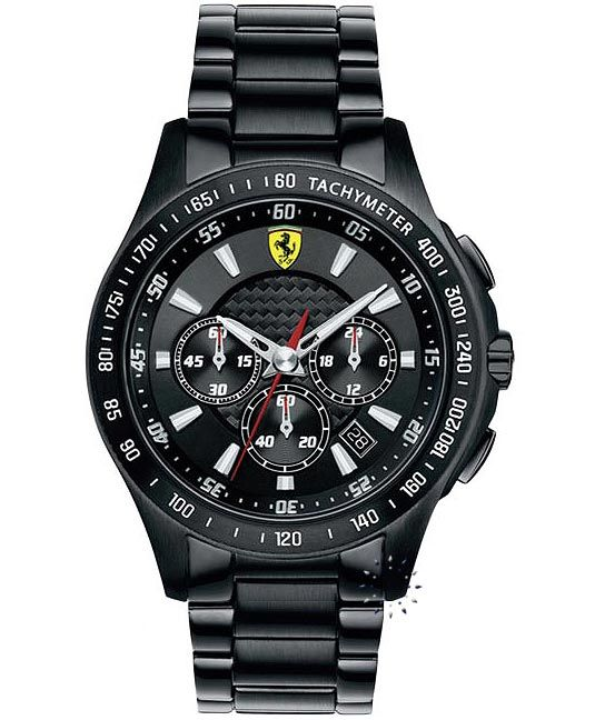 FERRARI Scuderia Chronograph All Black Stainless Steel Τιμή: 490€ http://www.oroloi.gr/product_info.php?products_id=33404