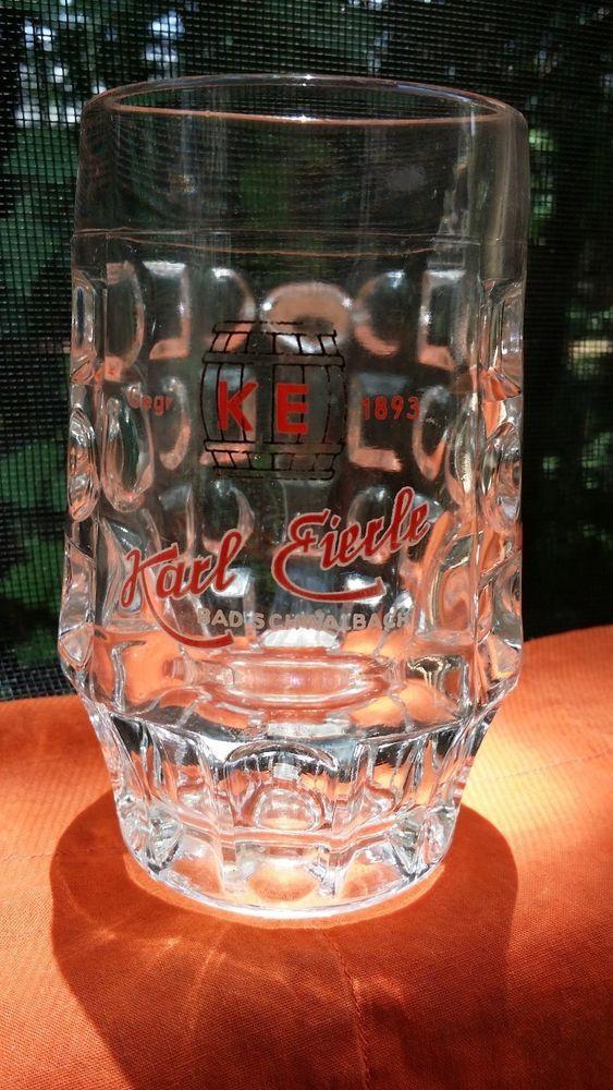 Collectible German Beer Glass Mug Karl Eierle Bad Schwalbach RARE 0.2L Dimple