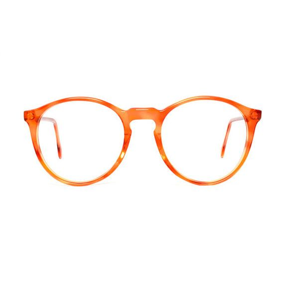 Orange Brown Transparent Round Vintage Eye glasses made in Spain by INDO