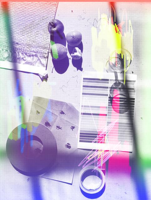 LUKE DOWD still life 7, 2015 Unique digital print on canvas 38 × 29 in
