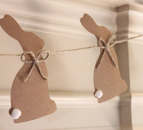 Brown Bunny Silhouette Banner Rustic Vintage Theme | socuteparties - Cards on ArtFire