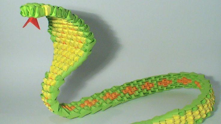 3D origami green snake tutorial
