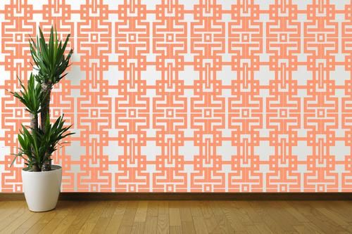 Dress up your walls! Aztec Wallpaper in Coral by The Blush Label