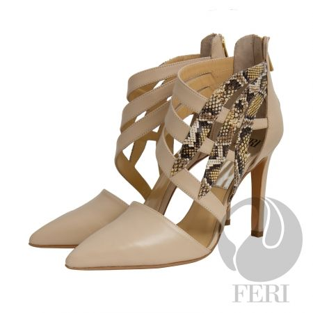 FERI - Adrianna - Shoes - Cream Beige and Snake Print     Price                                  $909 Canadian Dollars Product #                           FSH-5856 Product Category              FERI Shoes - Napa leather pump with stiletto heel - Napa leather sole and insole - Colour: Beige with snake skin printed accent  - FERI logo hardware on sole and zipper pull - Heel height: 4.5 inches Invest with confidence in FERI Designer Lines. Perches from My Virtual Designer Mall (VDM)…