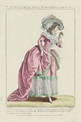 """""""L'innocente Curieuse se piquant aux épines de la rose dont l'éclat et l'odeur lui plaisent, et desirant pouvoir leur comparer les peines et les douceurs de la tendresse: elle est en robe à l'Angloise bordée de tigre et coëffée d'un chapeau au Globe sur un demi bonnet"""", Gallerie des Modes, 1784; MFA 44.1585"""