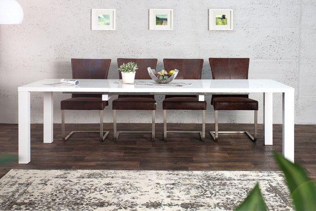 Design Esstisch LUCENTE weiß Hochglanz 160 - 240cm ausziehbar Tisch  --   Riess-Ambiente.de