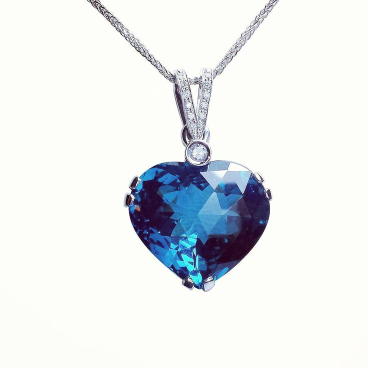 """""""Over 14 ct london blue, natural topaz with diamonds and white gold. Made few months ago for special order. #heart #custommade #jewelrydesign #jewelry…"""""""