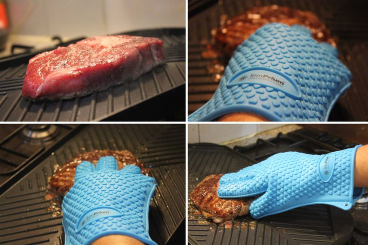 "We grilled a juicy Rib eye steak in the kitchen within minutes nice. The best thing is that flexibility of the glove allows you to #cook ""hands on"" - just say good bye to tongs! Do your traditional #ovenmitts allow you to do that?"