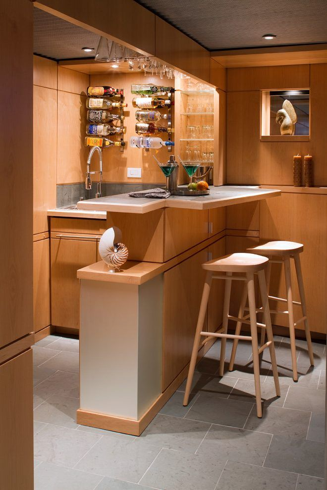 fry reglet basement midcentury with wet bar out trash cans