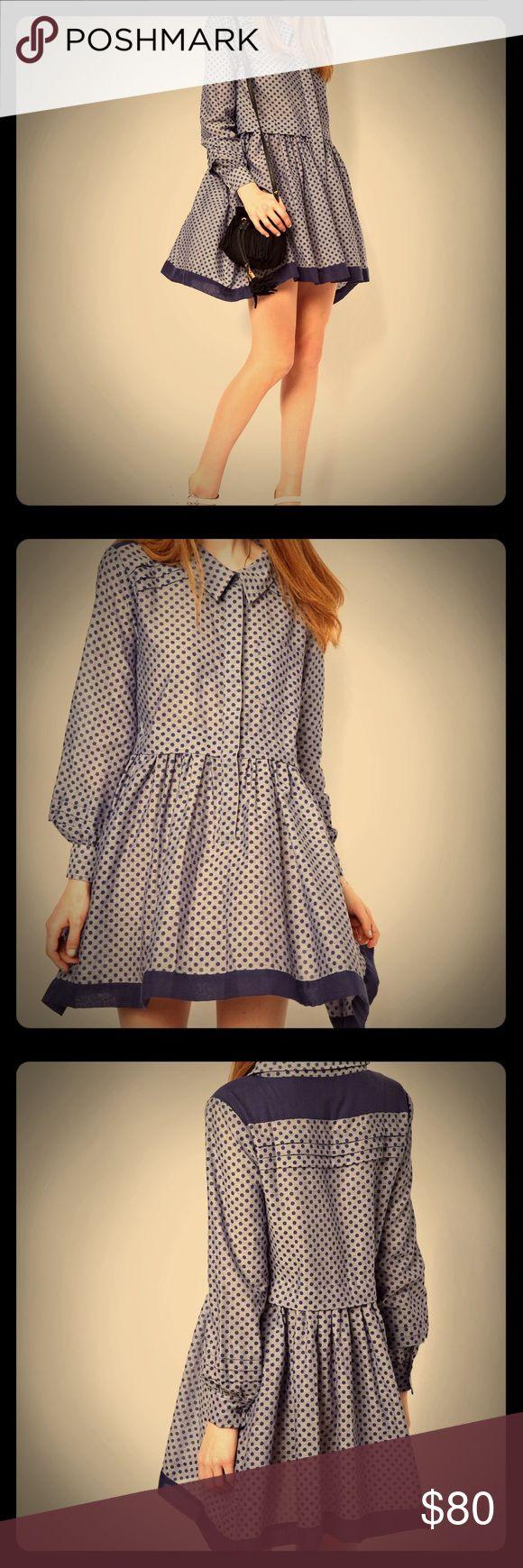 Asos shirt dress in chambray spot Lovely lightweight flowy oversized shirt dress, light blue with dark blue polka dots. ASOS Dresses Mini