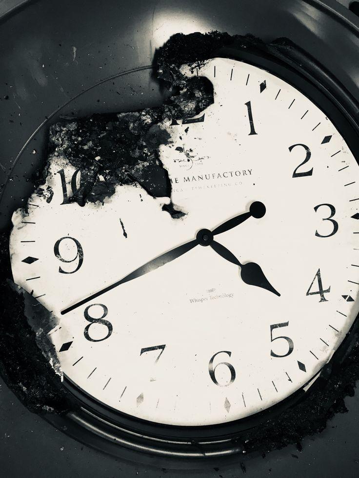 Clock time burnt aesthetic black and white noir Black