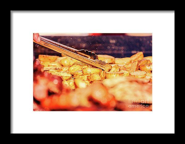 Preparing Grilled Potatoes On Barbecue Framed Print