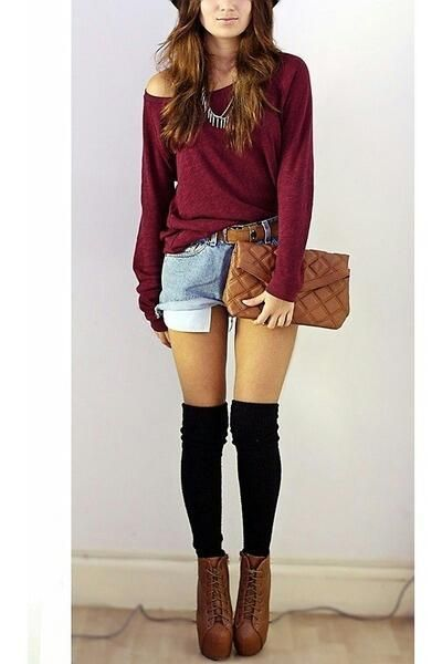 Fashion outfit knee high socks, red jumpers an shorts - Best 10+ High Socks Outfits Ideas On Pinterest Thigh High Socks