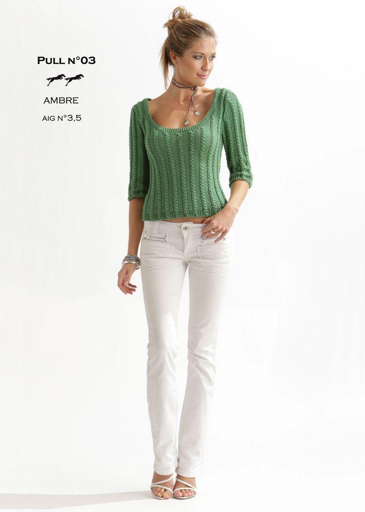 Modèle de tricot - Pull femme - Catalogue Cheval Blanc n°20 - Laine utilisée : AMBRE