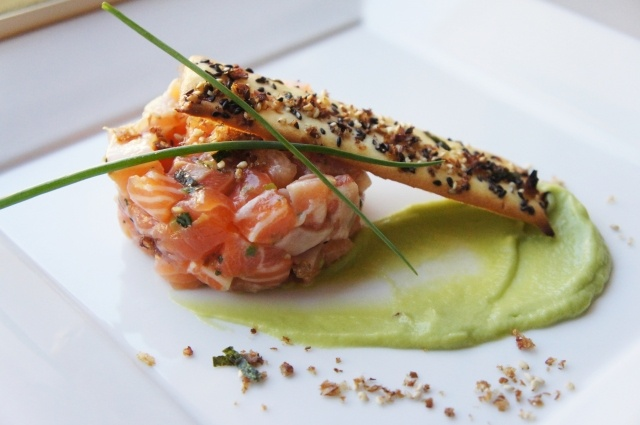 Salmon Tartare with Avocado-Wasabi Mousse and Furikake Tuile | A Kitchen for Friends