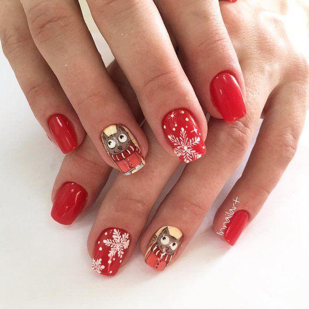 Beautiful new year's nail, Cartoon nails, Cheerful nails, Christmas shellac, Cool nails, Funny nails, New years nails, Party nails
