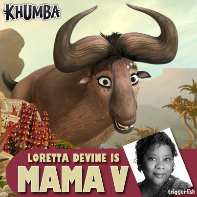 """COMING SOON! Now here's a Mama full of Devine Lovin' ;) Most Mama's will do just about anything for their family… And this tender lovin' buffalo is no different BUT Mama V has another reason, this sweet soul has had a bitter past.  Want more ? Well, you're just gonna have to wait to see Loretta Devine as Mama V for yourself... Grab the kids!!  Catch the Walmart exclusive in Mid January ;) PLUS """"KHUMBA the GAME"""" & an ALL NEW """"GONG ROCKER"""" APP #LorettaDevine"""