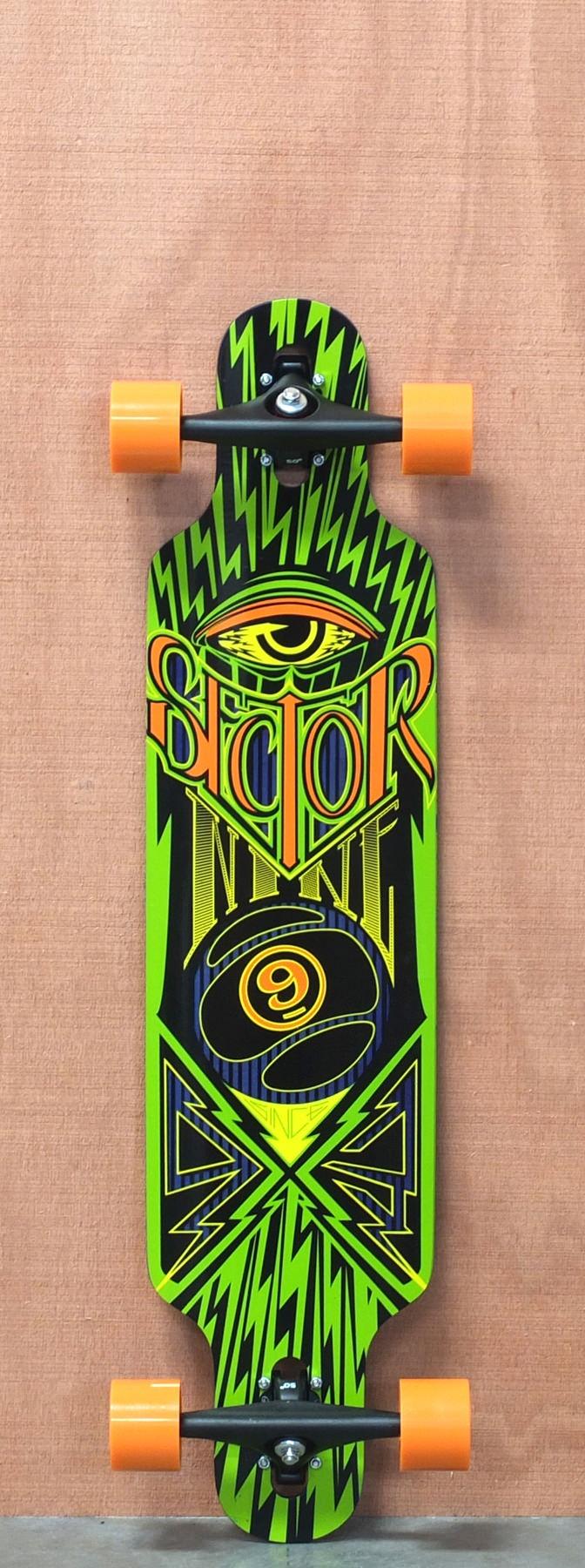 """$261.00 Sector 9 39"""" Seeker Green Longboard Complete"""