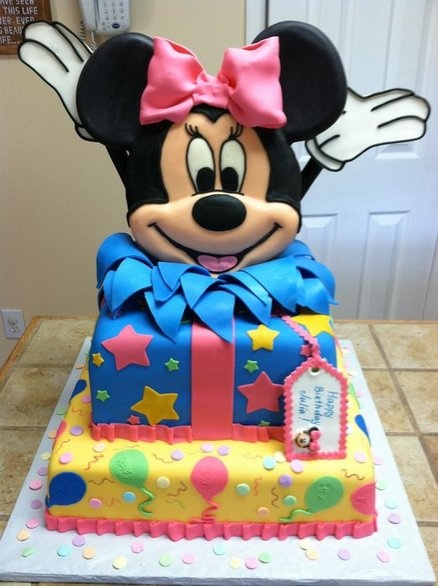 Minnie Mouse Birthday cake. I can't help but think that it would be great to tell someone they were going to Disney World with this