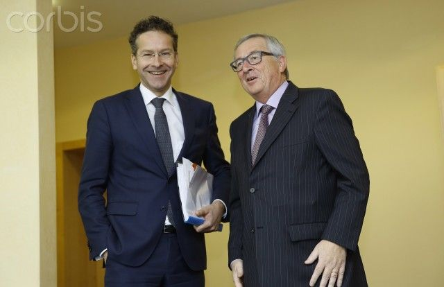 BRUSSELS, Nov. 9, 2015 (Xinhua) -- European Commission President Jean-Claude Juncker (R) meets with Eurogroup President and Dutch Finance Minister Jeroen Dijsselbloem at EU headquarters prior to a Eurogroup finance minister meeting in Brussels, Belgium, Nov. 9, 2015.