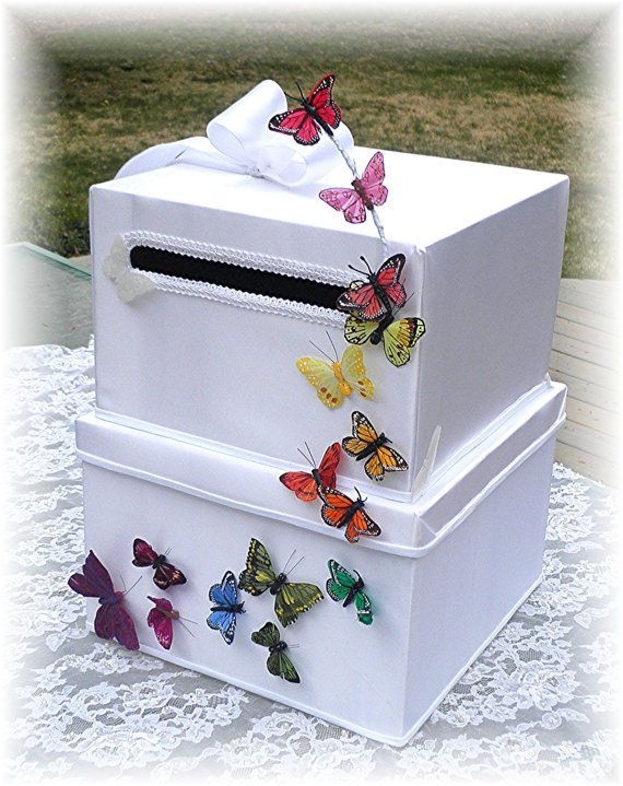 BUTTERFLY KISSES Rainbow Butterflies Two Tiered Wedding Money Card Box by WildExpressionsBride