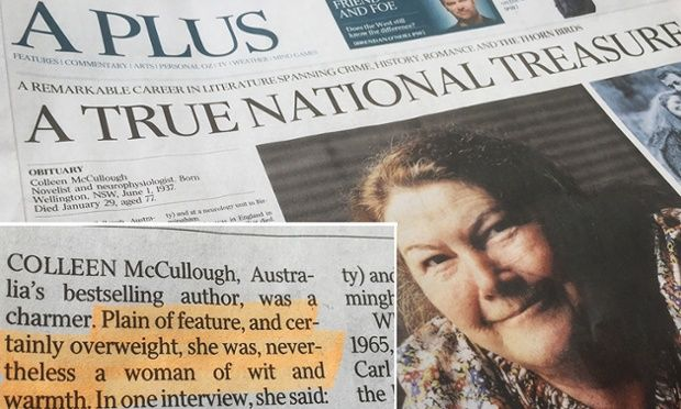 Article that remarked on the Thorn Birds author's weight and 'plain' features greeted with mockery on social media