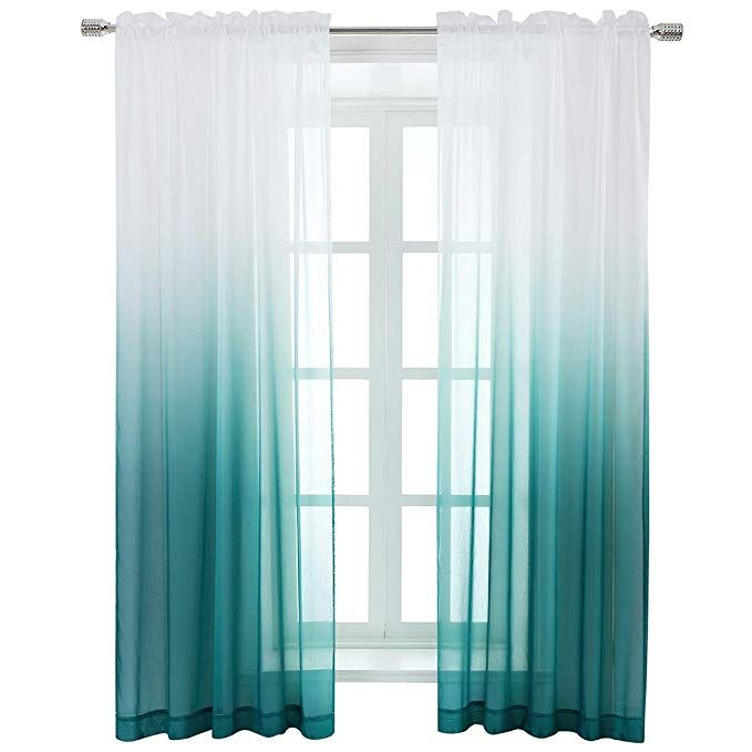 Amazon Com Selectex Linen Look Ombre Sheer Curtains Rod Pocket