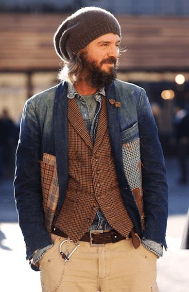 Denim jacket with brown vest, chino pants, knit cap combined with Azurora Marone dress