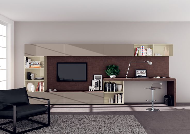 #Living area composition with writing-desk designed by #Scavolini