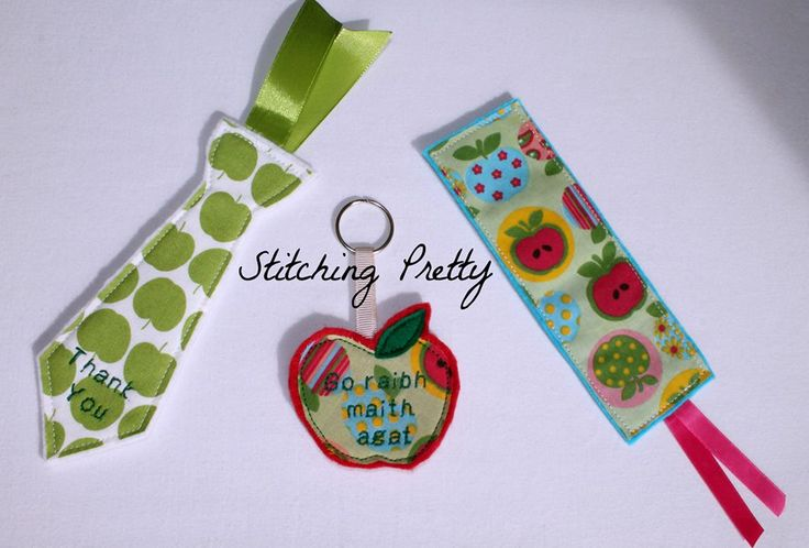 "Bookmarks are €5.50 or £4.50 each plus p&p  Apple keyrings are €5 or £4.10 plus p&p  Bookmarks and keyrings can be personalised with the teacher's name, or ""Thank you""."