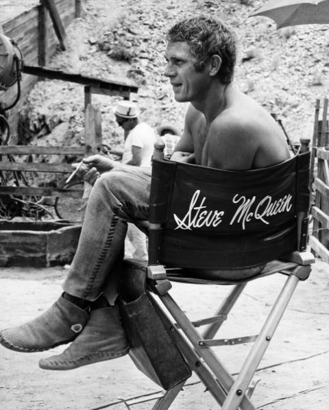 """Steve McQueen on the set of """"Nevada Smith"""""""