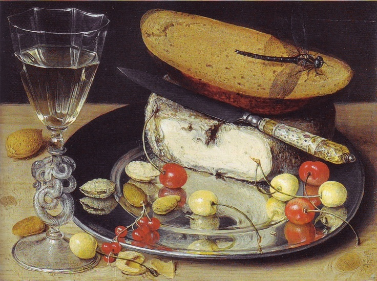 Georg Flegel (1566-1638)  still life with cheese and cherries  oil on canvas  stuttgart - staatsgalerie