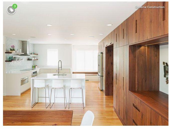 Dark cabinets, light floors | Walnut kitchen cabinets ...