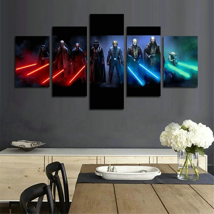 Charmant Jedi And Sith Star Wars Canvas Wall Art   The Best Star Wars Wall Art #