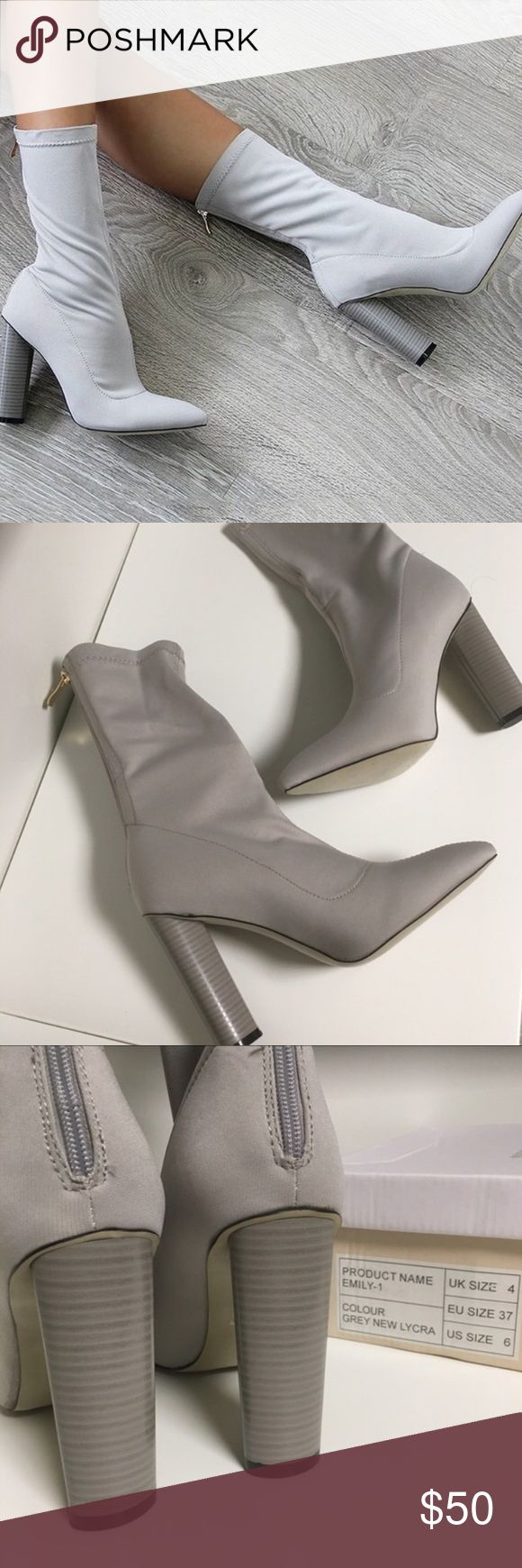 Yeezy Sock Ankle Boots 37 6 grey Heels shoes new Yeezy Sock Ankle Boots Grey / Gray ❤️ NO UNREASONABLE OFFERS YOU WILL BE BLOCKED THANK YOU ❤️  Seen on Kim Kardashian / Kylie Jenner / Kendal / Khloe / Kayne West Yeezy Show  Size 37 / 6 labeled on the box ( SIZE 37 EU is actually a size 6.5 US )  Heel measures approximately 4 inches/ 10.16cm   Never worn before new in box Has a tiny stain but not noticeable see the last pic / I received them in the mail like this  Heel is a little high for me…