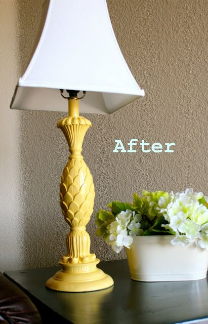 Yellow Spray-Painted Lamp Makover - Remodelaholic