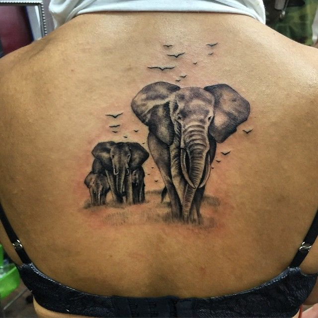 Elephant family tattoo yesterday 39 s tattoo was super fun for Elephant tattoo meaning family