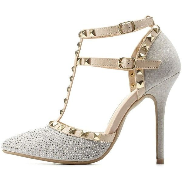 Charlotte Russe Silver Rhinestone Studded Strappy Pointed Toe Pumps by... ($43) ❤ liked on Polyvore
