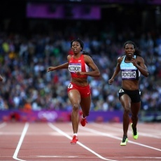 Francena McCorory (United States) and Amantle Montsho (Botswana), Women's 400-Meter, Track and Field, Aug. 4
