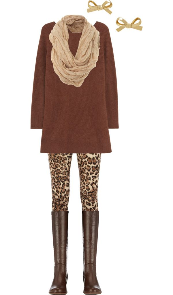 Animal print leggings and tunic sweater with boots