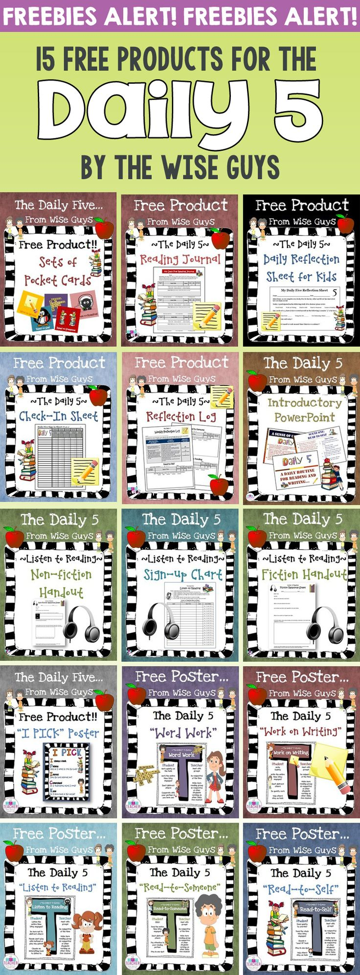 15 FREE Daily 5 Resources. Great for grades 3-5 that will help your class be organized and ready!