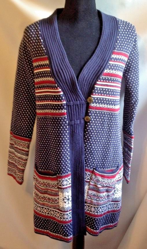 """Pattern: Sleighbells. Lovely long cardigan sweater by Hanna Andersson, size Medium. Size: Medium. Underarm to underarm: about 19"""". 