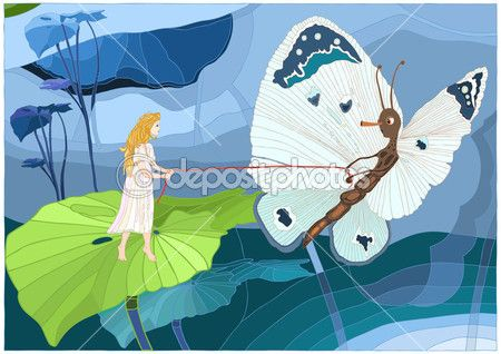 Calineczka z motyl — Grafika wektorowa © Bridzia #26273355