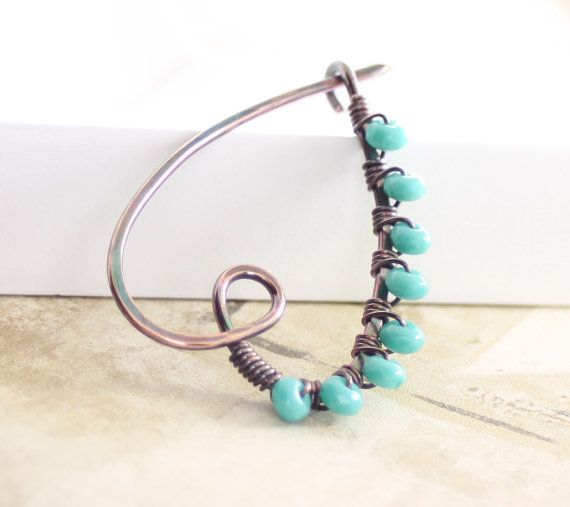 Heart shape shawl pin or scarf pin in solid copper with teal blue Czech glass beads $24.00
