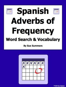 spanish adverbs of frequency word search worksheet and vocabulary by sue summers spanish. Black Bedroom Furniture Sets. Home Design Ideas