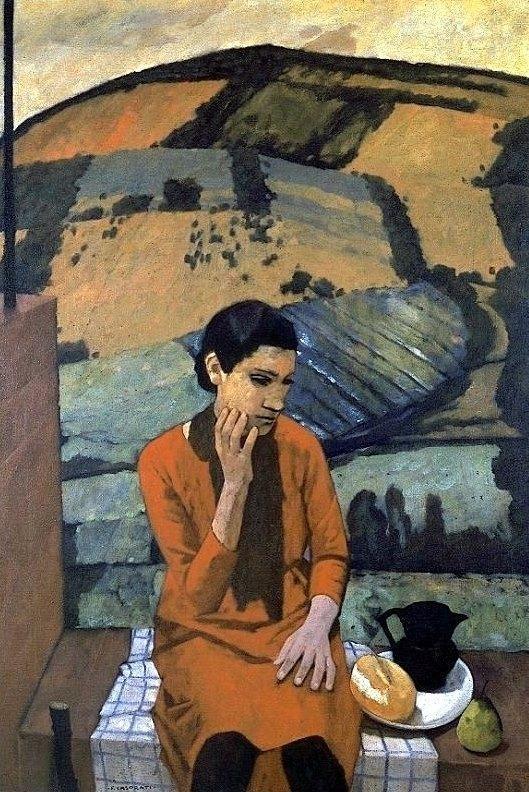 Felice Casorati(1883-1963, Italy) - Ragazza in collina (Ragazza di Pavarolo), 1929, Olio su tela, 90x130 cm