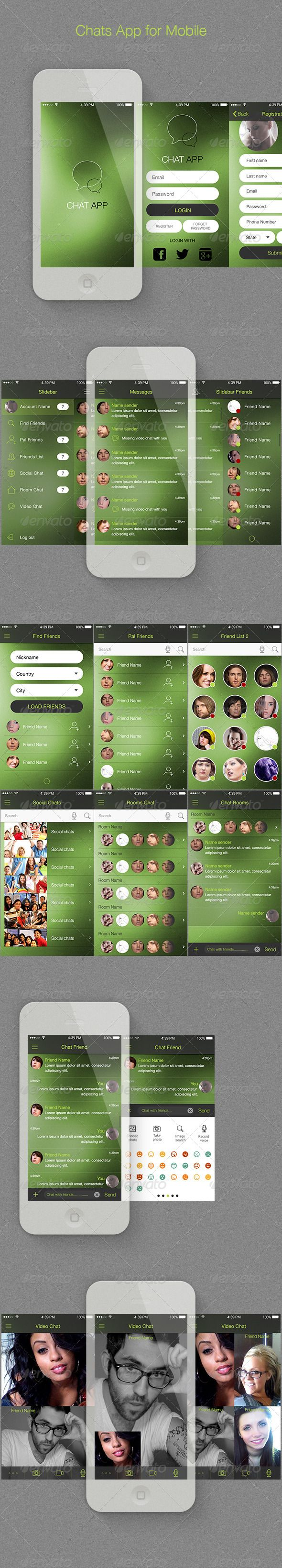 Chat App for Mobile #GraphicRiver + 19 psd file included: 01_Spash Screen 02_Login 03_Registration 04_Chose Location 05_Slidebar 06_Slidebar Friends 07_Messages 08_Messages Action 09_Find Friend 10_Pal Friend 11_Friend List 12_Friend List 2 13_Friend List 2 Action 14_Social Chats 15_Room Chats 16_Room Chat Detial 17_Chat Friend 18_Chat & Attac Control 19_Video Chat + Features: Good idea for Your Chats App. Consistent with trends minimalist. PSD well organized, with layers and groups. Modern…