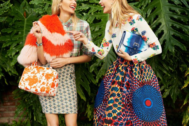 Wrap (left), Skaist Taylor. Shirt, Dries Van Noten. Skirt, Boss Orange. Bag, Tory Burch. Shirt (right), Candela, $924, shopBAZAAR.com. Skirt, Stella Jean. Clutch, Kate Moss for Longchamp.Models: Jessica Hart and Anne Vyalitsyna; hair: Tuan Anh Tran for Bumble and Bumble; makeup: Serge Hodonou for Chanel Beauté; manicures: Beth Fricke for OPI; production: Production on 5th.