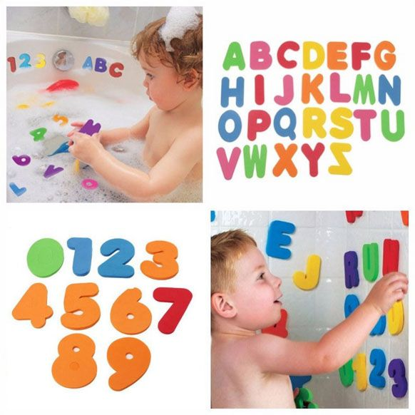 Kids Educational Floating Baby Bath 36pcs Letters Numbers stick on Bathroom Candy color Water Classic Toys