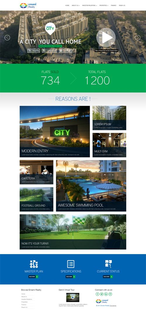 Accenza designed the website for Emami Realty project. Explore the snapshot of the website.